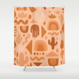 Orange Cutout Print Shower Curtain
