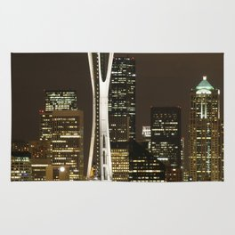 Seattle Space Needle at Night - City Lights Rug