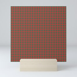Christmas Red and Dark Green Tartan with Double White Lines Mini Art Print