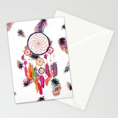 Hipster Watercolor Dreamcatcher Feathers Pattern Stationery Cards