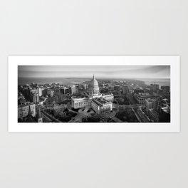 Isthmus Panorama - B&W Nov 2020 Art Print