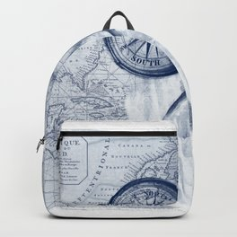 Great White Shark Compass Map Blue Backpack