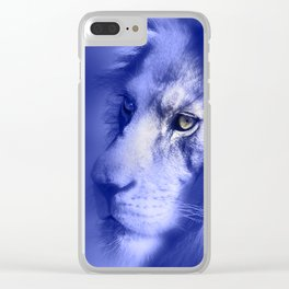 Fantasy Lion of Legend in Blue-Lilac Clear iPhone Case