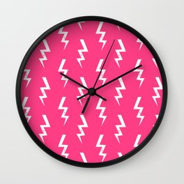 Bolts lightening bolt pattern pink and white minimal cute patterned gifts Wall Clock