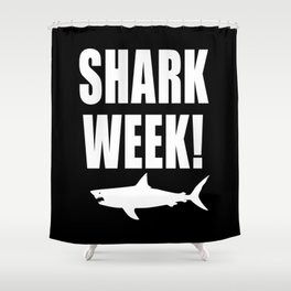 Shark week (on black) Shower Curtain