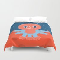 furry Duvet Covers featuring Focussian Furry Alien by Boriana Giormova