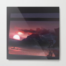 Temples and Sunset Metal Print