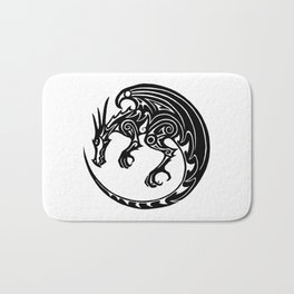 Tribal dragon - button design Bath Mat