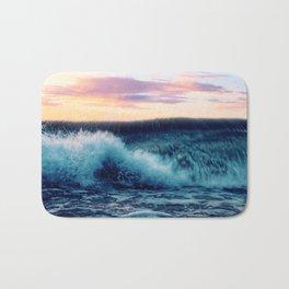 Waves Crashing At Sunset Bath Mat