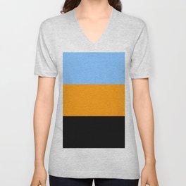 Just three colors 7 blue,orange,black Unisex V-Neck