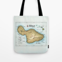 Maui [Atlas Inspired] Points of Interest Road Map Tote Bag