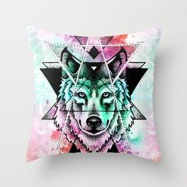 wolf mandala Throw Pillow