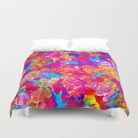 jazzberry Duvet Covers featuring FLORAL FANTASY Bold Abstract Flowers Acrylic Textural Painting Neon Pink Turquoise Feminine Art by EbiEmporium