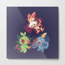 Starters // Grass Monkey, Fire Bunny, Water Frog - Dark Ver Metal Print