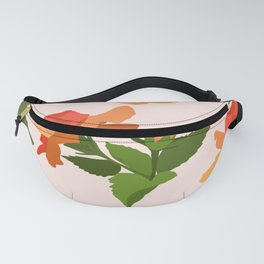 A girl hiding behind foliage. Fanny Pack