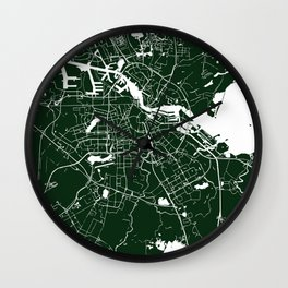 Amsterdam Green on White Street Map Wall Clock