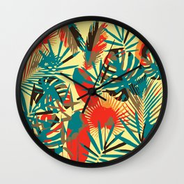Abstract Exotique Leaves Wall Clock