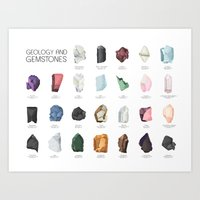 geology Art Prints featuring Gemstones and Geology - Alphabet Poster by DNGR