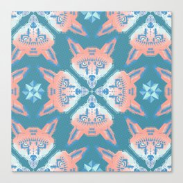 Pastel Fox Pattern Canvas Print