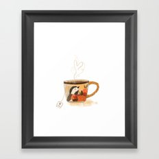 Chickadee Teacup Framed Art Print