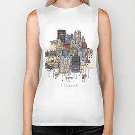 Pittsburgh Skyline group picture- art print Biker Tank