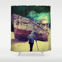 ship Shower Curtains featuring Ship by Cs025