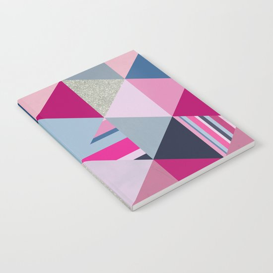 Pink, Blue and Silver Triangles Notebook