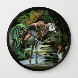 Sleeping Fairy on Unicorn Wall Clock