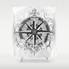 Black and White Scrolling Compass Rose Shower Curtain