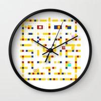 pac man Wall Clocks featuring Pac-Man Boogie Woogie by Jake Friedman