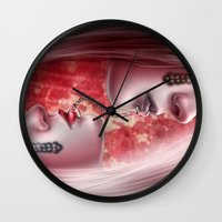 sex and the city Wall Clocks featuring Sex by Miguel Angel Carroza