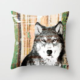 Industrial Woodland Wolf Throw Pillow