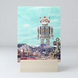 Robot in Town Mini Art Print