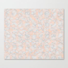 Geometric rose gold art deco on smokey marble Canvas Print