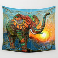 patterns Wall Tapestries featuring Elephant's Dream by Waelad Akadan