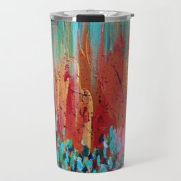 REVISIONED RETRO - Bright Bold Red Abstract Acrylic Colorful Painting 70s Vintage Style Hip 2012 Travel Mug