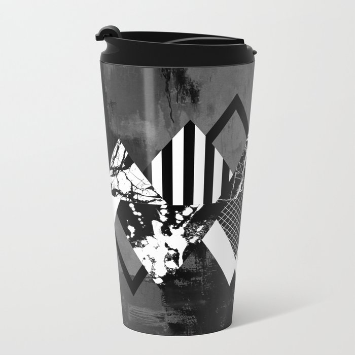 STAND OUT! In Black And White - Abstract, textured geometry! Metal Travel Mug