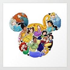 Princess Mickey Ears Art Print