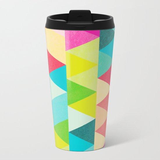Bubblegum Triangles Pattern Metal Travel Mug