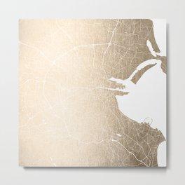 Dublin Street Map Gold and White II Metal Print