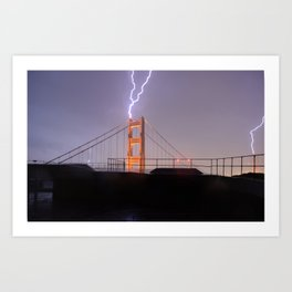 Golden Gate Bridge Double Lightning Strike Art Print
