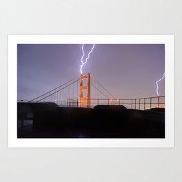 Golden Gate Bridge Double Lightning Strike Art Print