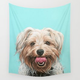 Adorable Yorkie Painting, Yorkshire Terrier Portrait, Smiling Yorkie Art Wall Tapestry