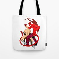 diablo Tote Bags featuring El Diablo by drubskin