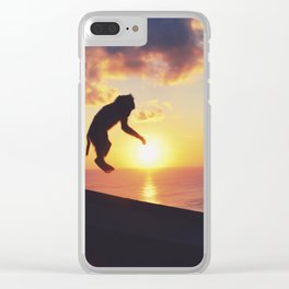 Playful monkey jump Clear iPhone Case