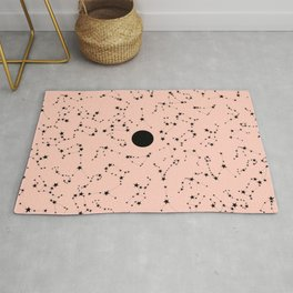 Full Moon and Star Constellations Black in Pastel Rug