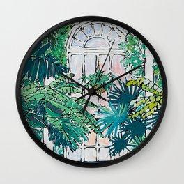 Kew Gardens Sunrise Walkway Greenhouse Jungle Painting London Wall Clock