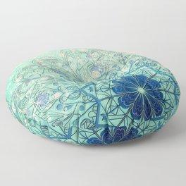 Mandala in Sea Green and Blue Floor Pillow