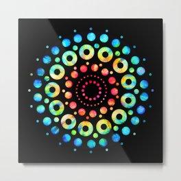 Multi-Color Mandala Tie-Dye Circle Shapes Metal Print