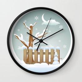 Merry christmas winter  Wall Clock